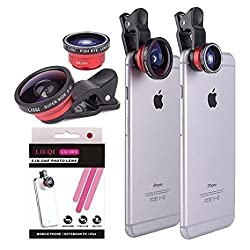 YOPO Universal Clip Camera lens kit for iPhone 6s plus/6s/6 plus/6,Samsung GalaxyS6/S5,Mobile Phones ( Fish Eye Lens+ Macro Lens +Super Wide Angle Lens)(Red)