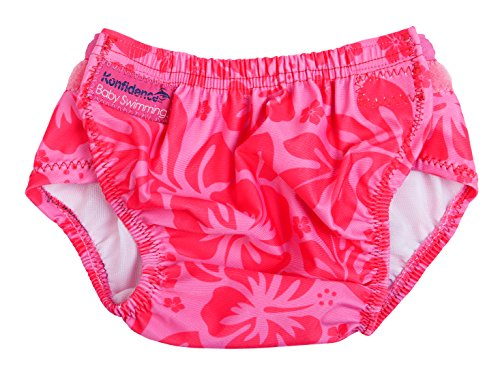 Konfidence Baby Girls Aquanappy Reusable Swim Diaper Hibiscus One Size (3-30 Months) Pink