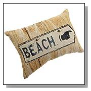 Beach Sign Tapestry Beach Throw Pillow