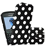 iTALKonline BlackBerry 8520 Curve, 9300 3G BLACK WHITE POLKA DOTS Easy Clip On Vertical Flip Wallet Pouch Case Cover with Holder & Screen Protector