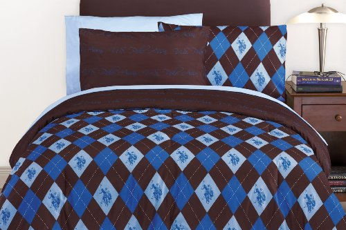 cheap blue and brown comforter sets u s polo association reversible microfiber bed in a bag. Black Bedroom Furniture Sets. Home Design Ideas
