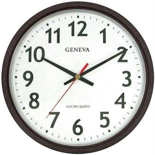 Geneva 14-Inch Electric Quartz Wall Clock, Black (Corded Electric Clock compare prices)