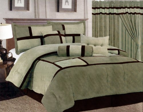 7 Pcs Micro Suede Patchwork Bed In A Bag Comforter Set King Sage Green front-1078603
