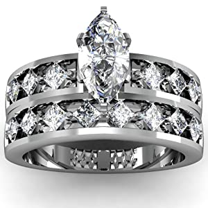 1.70 Ct Marquise Cut Diamond Engagement Wedding Rings Channel Set SI2-D 14K GIA Certificate # 2166120358