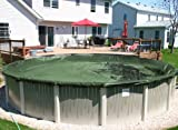 28' Round Green Supreme Plus 15 Yr Above Ground Swimming Pool Winter Cover w/ Cover Clips