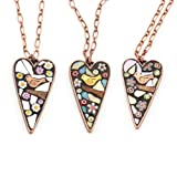 Bird Mosaic Heart Necklace by Angela Ibbs