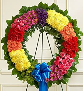 1-800-Flowers - Serene Blessings Standing Wreath - Bright - Bright Wreath By...