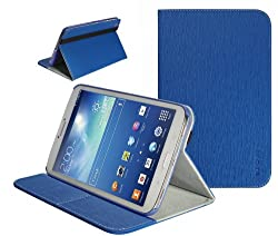 SUPCASE Samsung Galaxy Tab 3 8.0 inch Tablet Slim Hard Shell Leather Case with Auto Wake/Sleep - Blue Multi-Angle Viewing Business Card Holder
