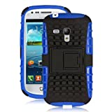 JKase DIABLO Series Tough Rugged Dual Layer Protection Case Cover with Build in Stand for Samsung Galaxy S3 III Mini I8190 - Retail Packaging (Blue)