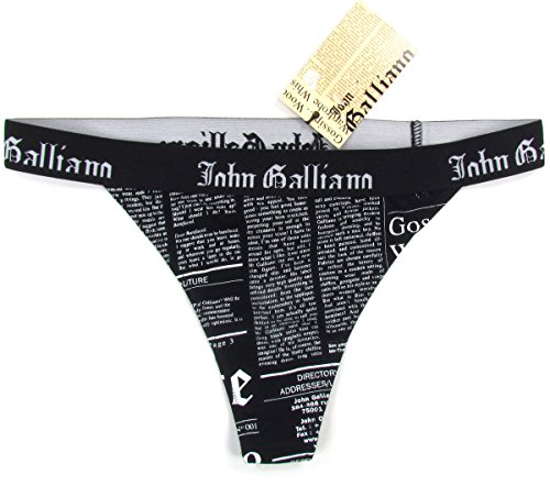 john-galliano-newspaper-femme-string-vintage-elastique-coton-noir-blanc