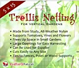 Trellis Netting 5x15 - Sturdy Nylon Garden Trellis Netting from Red Earth Naturals Supports Plants & Vegetables So They Can Grow Vertically, Saves Ground Space, Perfect for Square Foot or Raised Bed Gardens, Holds Up in All Kinds of Weather, Guaranteed, Comes with Ebook: 5 Ways to Use Garden Netting
