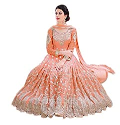 Dharmee Women's Georgette Anarkali Suit Dress Material (705_Smart Anarkali_Orange)