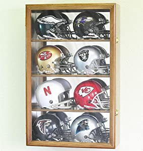 8 Mini Helmet Display Case Cabinet Holder Rack w  UV Protection- Lockable with Mirror... by sfDisplay.com, Factory Direct Display Cases