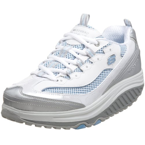 Skechers Women's Shape Ups Jump Start White/Silver/Light Blue Training Shoes 11803 6.5 UK