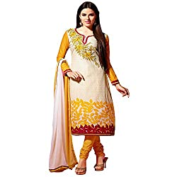 Fabtantra Womens Cotton Straight Dress Material (10082 -Yellow -Free Size)