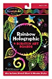Stunning holographic designs! Use the wooden stylus to trace the 30 stencil shapes or etch your own designs onto these black-coated scratch boards. Each line will come to life in amazing multicolor holographic effects--the 2D pattern looks like 3D glitter! 3278