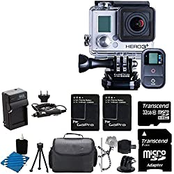 GoPro HERO3+ Black Edition Camera HD Camcorder With 2 Replacement Lithium Ion Batteries + Charger with Car Charger + Deluxe Carrying Case + Monopod + Micro HDMI Cable + + 32GB SDHC MicroSD Memory Card Complete Deluxe Accessory Bundle