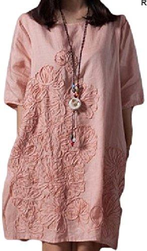 レディース ワンピース オリエンタル調 コットン チュニック フラワー刺繍 夏 半袖 ナチュラル (ピンク XL)