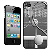 Fancy A Snuggle 'Black and White Tennis Court with Balls and Rackets' Clip On Back Cover Hard Case for Apple iPhone 4/4S