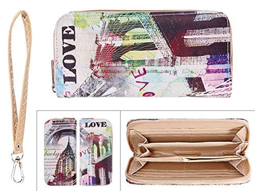 Portafoglio per donne con chiusura zip motivi diversi borsellino portamonete per carta di credito bancanote biglietti moneta, Geldbörse GB-01-22:GB-14 Eiffelturm bunt