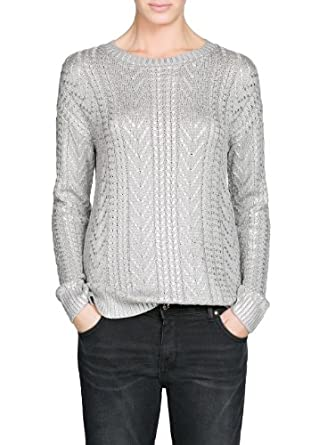 'Mango Women's Cable-Knit Metallic Sweater, Light Silver, Xs