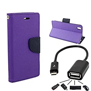 Online Street Flip With OTG Cable For Samsung Galaxy Note 2 Gt 7100 - (Purple Flip + OTG)