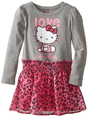 Hello Kitty Little Girls' Dress Leopard Print, Heather Gray, 6 front-756442
