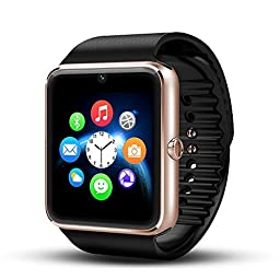 Luxsure® Bluetooth Smart Watch with SIM Card Slot and NFC Smart Health Watch Bracelet Smartwatch for Samsung HTC and Other Android Smartphones - Gold black band