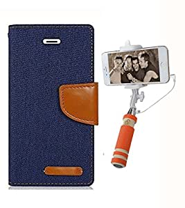 Aart Fancy Wallet Dairy Jeans Flip Case Cover for Redmi2S (NavyBlue) + Mini Fashionable Selfie Stick Compatible for all Mobiles Phones By Aart Store