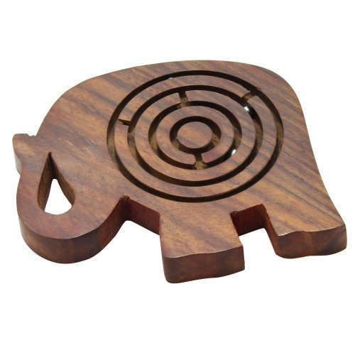 Puzzle Wooden Toys Game Labyrinth Maze in Elephant Shape 4.3 X 2.7 Inches