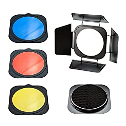 PhotoSEL BNS84BHC Barn Door Honeycomb Grid and Colour Gel Set for FRS558 Standard Reflector