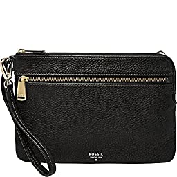 Fossil Large L-Zip Wristlet, Black, One Size