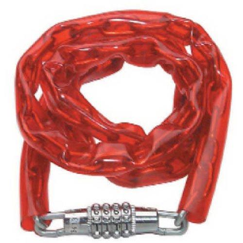 Master Lock 8147D Light Weight Combination Bike Chain Lock, Red, 4-Foot