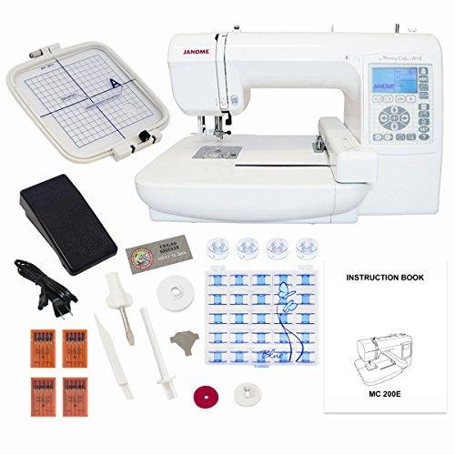 Janome Memory Craft 200E Embroidery Machine with Exclusive Bonus Bundle (Janome Monogram compare prices)