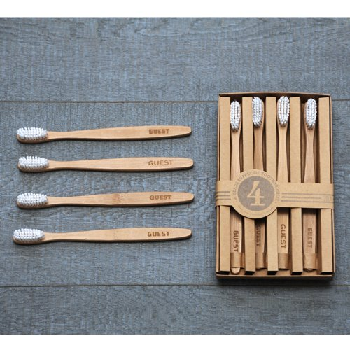 Izola 804 Bamboo Guest Toothbrush, Set of 4