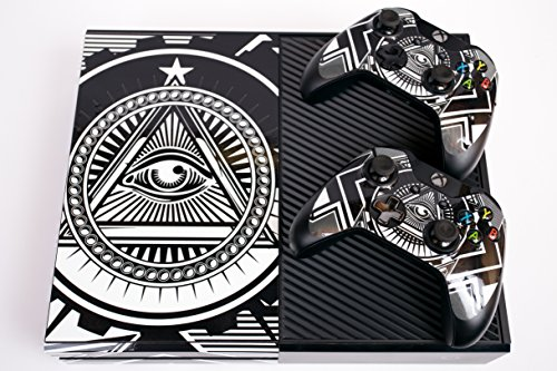 Designer Skin Sticker for the Xbox One Console With Two Wireless Controller Decals Conspiracy White