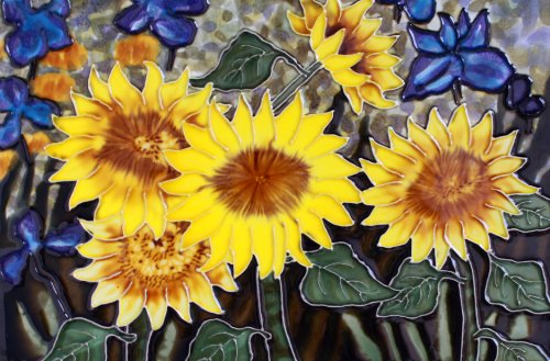 "8"" X 12"" Hand Painted Decorative Ceramic Tile Art - Sunflower Garden"