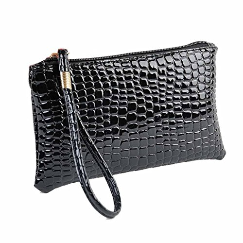 [Start Women Crocodile Pattern Leather Zipper Handbag Purse (Black)] (Sale On Purses)