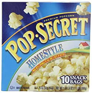 Pop Secret Snack Size Homestyle, Microwavable Popcorn, 10-Count, 17.5-Ounce Box (Pack of 3)