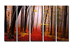 Wieco Art - The Misty Autumn Forest Extra Large 5 Panels Modern Gallery Wrapped Canvas Prints Landscape Pictures Paintings on Canvas Wall Art Work Ready to Hang for Living Room Office Home Decor XL