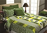 Maissen Belladonna Geometrical Polycotton Double Bedsheet with 2 Pillow Covers - Olive Green