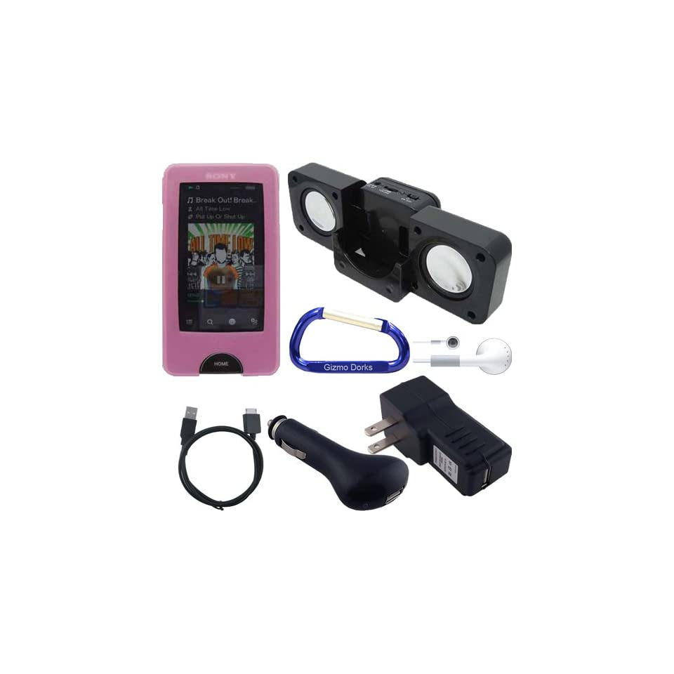 Premium Combo Bundle Kit Pink Silicone Skin Case Cover, USB Cable, USB Car Charger, USB Wall / Travel Charger, Earphones, Cube Speaker Dock, and Free Carabiner Key Chain for the Sony Walkman X Series (NWZ X1051, NWZ X1061)  Player