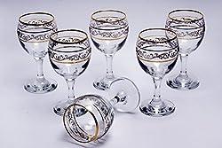 Art Craft Misket Sultan 6 Pcs Golden White Wine Stemglass Set - MIS-521