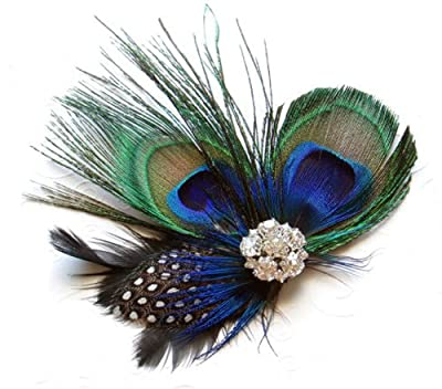 Natural Peacock Feathers Hair Clip
