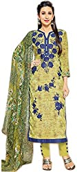 Lebaas Green and Blue Designer Pakistani style Straight Cut (With Discount and Sale Offer)