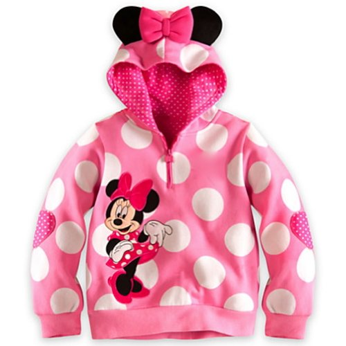 Disney Deluxe Pink Minnie Mouse Ear Hoodie Sweathshirt Costume for Girls Babies Toddlers (XS 4 Extra Small)