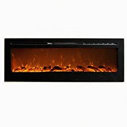 MCM3 72\'\' Wall Mounted/Build-in Electric/Smokeless Fireplace,Black,W72\'\'XD5.5\'\'XH21.5\'\',Fuel:Pebbles, Overheat Protection Device