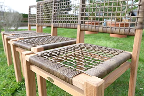 4Stück ECHT TEAK Design Rattan Sessel Gartensessel ...
