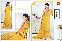 Pakeeza Libas Women's Georgette Straight UnStitched Dress Material (PKL3, Yellow)