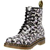 Dr . Martens 1460 W Womens Black Mini-Tydee Flowers 8 Eye Black Floral Lace Up Boots